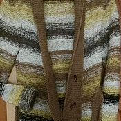 Одежда handmade. Livemaster - original item Knitted cardigan with a shawl collar Alpaca lemon. Handmade.