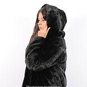 Одежда ручной работы. Ярмарка Мастеров - ручная работа Шуба из норки 80 см цвет черный. Handmade.