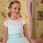 """Работы для детей, ручной работы. Ярмарка Мастеров - ручная работа Нарядное платье для девочки """"Тиффани"""" (пояс  с декором). Handmade."""
