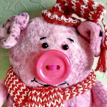 For home and interior handmade. Livemaster - original item Pillow toy Pig in a hat decoration, children`s room. Handmade.