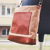 Сумки и аксессуары handmade. Livemaster - original item Leather canvas shoulder bag. Handmade.