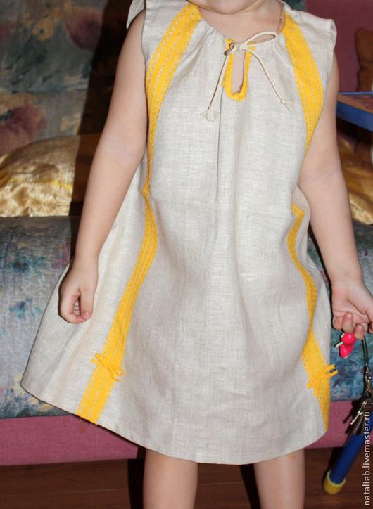 Одежда для девочек, ручной работы. Ярмарка Мастеров - ручная работа. Купить Детский льняной сарафанчик. Handmade. Белый, одежда для детей