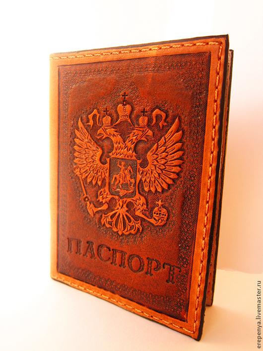 Обложки ручной работы. Ярмарка Мастеров - ручная работа. Купить обложка для паспорта. Handmade. Коричневый, паспортная обложка, кожа