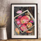 Картины ручной работы. Ярмарка Мастеров - ручная работа Картина акварель Осенние яблоки Натюрморт. Handmade.