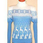 Одежда handmade. Livemaster - original item Women`s sweater with reindeer, lantern sleeve. Handmade.