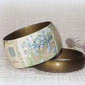 Украшения handmade. Livemaster - original item Wooden floral bracelet. Gift for musician. Blue olive music green. Handmade.