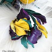 Украшения ручной работы. Ярмарка Мастеров - ручная работа Браслет из кожи с цветком ириса. ЦВЕТЫ ИЗ КОЖИ. Handmade.