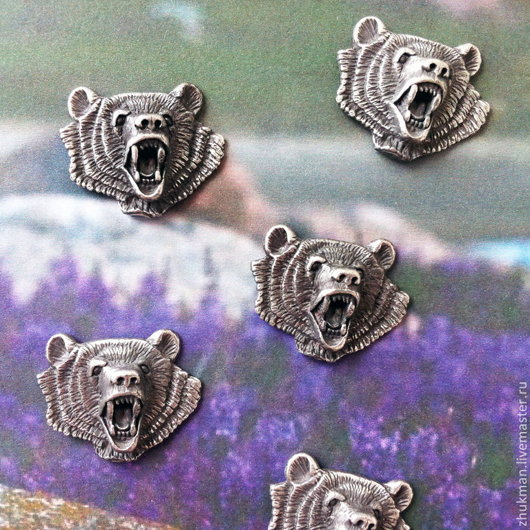 Magnet `Bear`. Magnets on the fridge. Magnet as a gift. Souvenir magnets from the series `Hunting trophy`. Sets of souvenir fridge magnets.