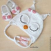 Работы для детей, ручной работы. Ярмарка Мастеров - ручная работа Шапочка Сова сплюшка и пинетки для новорожденного. Handmade.