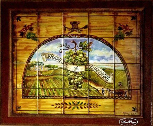 Пейзаж ручной работы. Ярмарка Мастеров - ручная работа. Купить Роспись керамики Роспись  плитки Прованс виноград. Handmade.