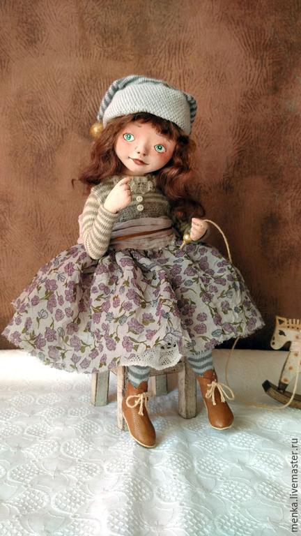 Коллекционные куклы ручной работы. Ярмарка Мастеров - ручная работа. Купить Дженни. Handmade. Коричневый, девочка с лошадкой, деревянный стульчик