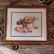 Картины ручной работы. Ярмарка Мастеров - ручная работа Картина вышитая крестом Корица и апельсин, вышивка крестом. Handmade.