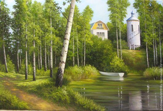Пейзаж ручной работы. Ярмарка Мастеров - ручная работа. Купить Дом у озера. Handmade. На День рождения, лес, для интерьера