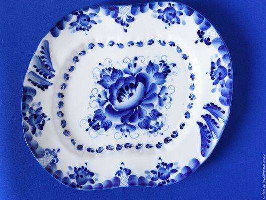 """Тарелки ручной работы. Ярмарка Мастеров - ручная работа. Купить Тарелка """"Весна"""", малая, гжель, авторская работа. Handmade. Синий"""