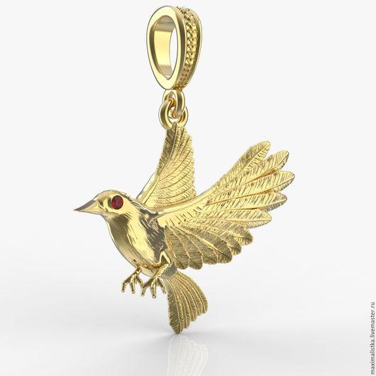 """Кулоны, подвески ручной работы. Ярмарка Мастеров - ручная работа. Купить Золотой Кулон """"Иволга"""" птица из жёлтого золота с гранатом. Handmade."""