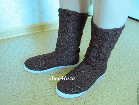 Обувь ручной работы. Ярмарка Мастеров - ручная работа. Купить Вязаные летние сапоги. Handmade. Вязаные летние сапоги
