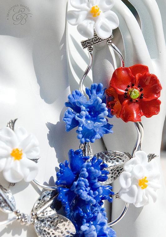 """Комплекты украшений ручной работы. Ярмарка Мастеров - ручная работа. Купить """"Лето"""": колье и серьги. Handmade. Маки, лэмпворк цветы"""