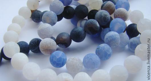 Агат африканский кракле 10 мм (белый, зеленый, синий, серый, оранж, малиновый)  Бусины для украшений. Рукоделкино