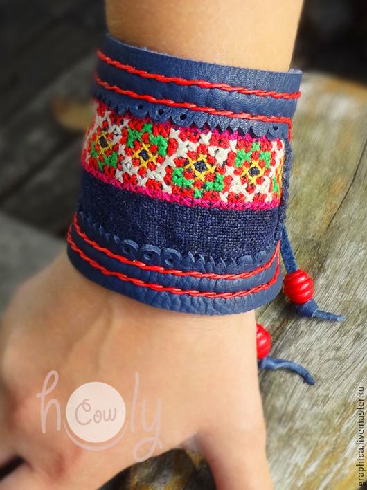 """Браслеты ручной работы. Ярмарка Мастеров - ручная работа. Купить Темно-синий кожаный браслет """"Hmong in Blue"""". Handmade."""