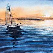 Картины и панно ручной работы. Ярмарка Мастеров - ручная работа Морской закат с парусником. Handmade.
