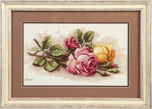 """Картины цветов ручной работы. Ярмарка Мастеров - ручная работа. Купить """"Срезанные розы"""". Handmade. Кремовый, цветы, розы, желтый"""
