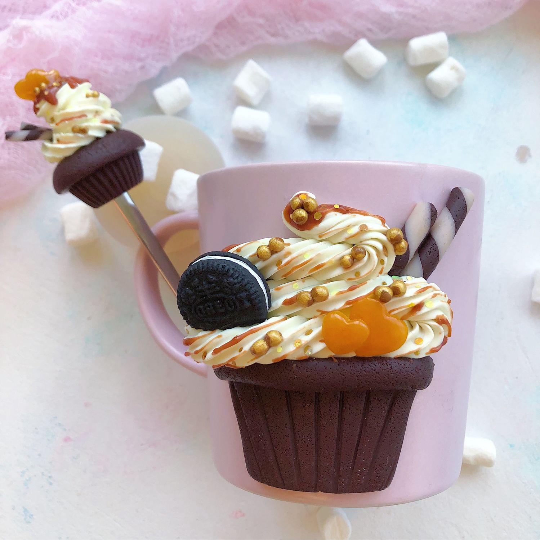 Mug And Spoon Decorated With Polymer Clay Zakazat Na Yarmarke Masterov Jys30com Kruzhki I Chashki Moscow