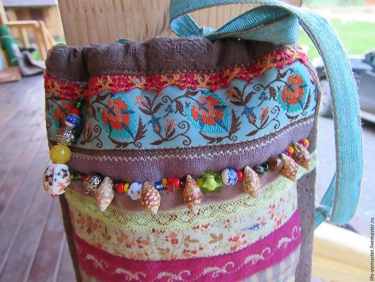 детская сумочка `терем-Теремок`, выполнена из льна и хлопка. японского фактурного. Выглядит как волшебный мешочек в который можно поместить множество мелких детских мелочей,