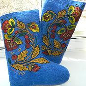 """Обувь ручной работы. Ярмарка Мастеров - ручная работа Валенки """"Хохлома"""" синие. Handmade."""