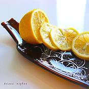 Посуда ручной работы. Ярмарка Мастеров - ручная работа тарелка из стекла, фьюзинг   Бутылка. Handmade.