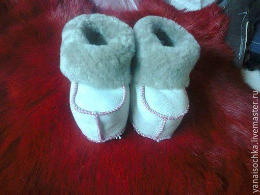 Детская обувь ручной работы. Ярмарка Мастеров - ручная работа. Купить Детские пинетки из натуральной овчины. Handmade. Натуральный мех