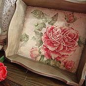 """Для дома и интерьера ручной работы. Ярмарка Мастеров - ручная работа поднос   """"Увядающая роза"""". Handmade."""