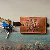 Housekeeper handmade. Livemaster - original item Leather key purse with hand embroidery MARJA. Handmade.