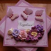 """Свадебный салон ручной работы. Ярмарка Мастеров - ручная работа Свадебная открытка в коробочке"""" Сиреневые бабочки"""" 2. Handmade."""