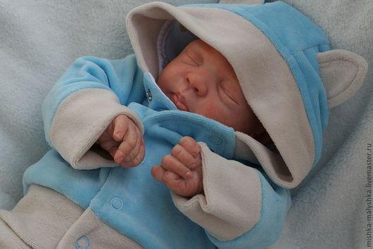 """Для новорожденных, ручной работы. Ярмарка Мастеров - ручная работа. Купить Костюмчик """"Котёнок"""" для маленького мальчика.. Handmade. Голубой, велюр"""