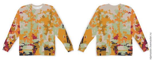 """Кофты и свитера ручной работы. Ярмарка Мастеров - ручная работа. Купить Свитшот (толстовка) дизайнерский унисекс """"Городской пейзаж"""". Handmade."""
