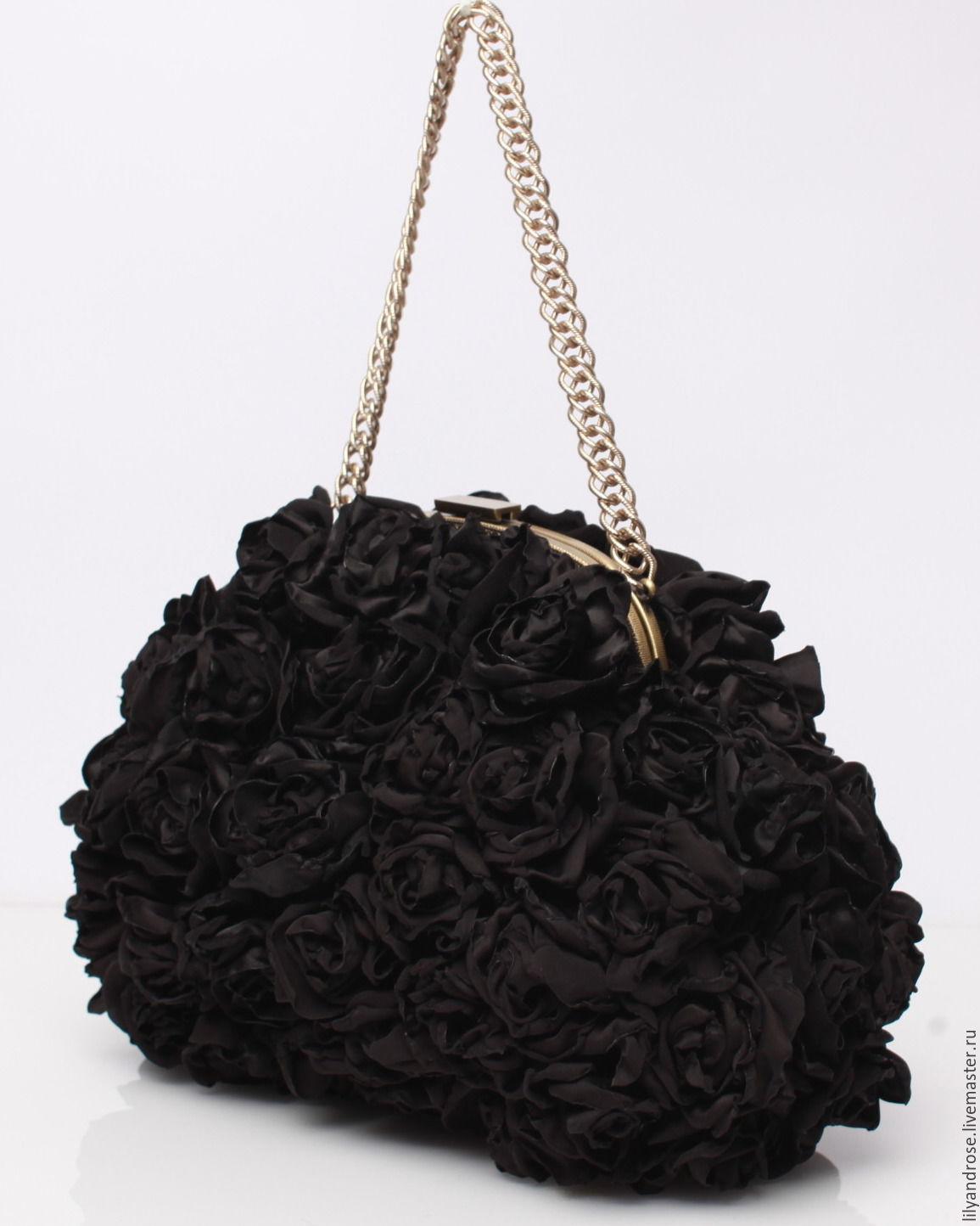 0bea75f22808 Женские сумки ручной работы. Ярмарка Мастеров - ручная работа. Купить  Черный клатч с розами ...
