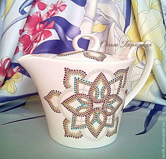 Заварочный чайник фарфоровый с росписью купить в Москве. Подарки  ручной работы. Посуда с росписью