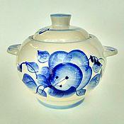 Vintage kitchen utensils handmade. Livemaster - original item Gzhel pot for baking. Handmade.