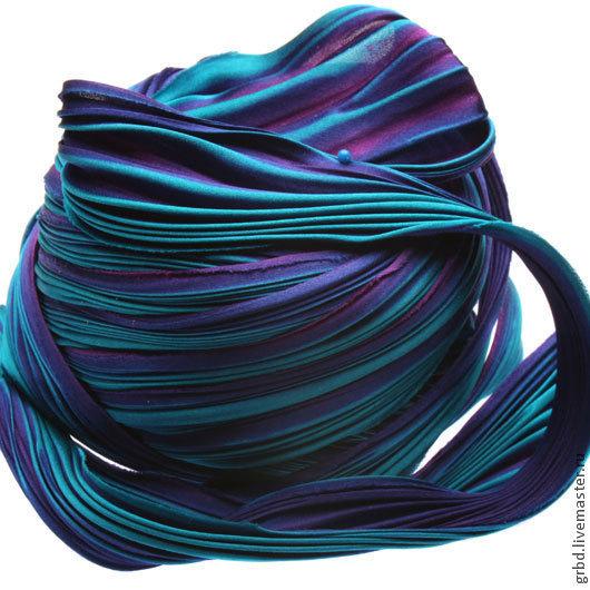 Для украшений ручной работы. Ярмарка Мастеров - ручная работа. Купить Шелковая лента Шибори (Shibori) цвет Passion Teal. Handmade.