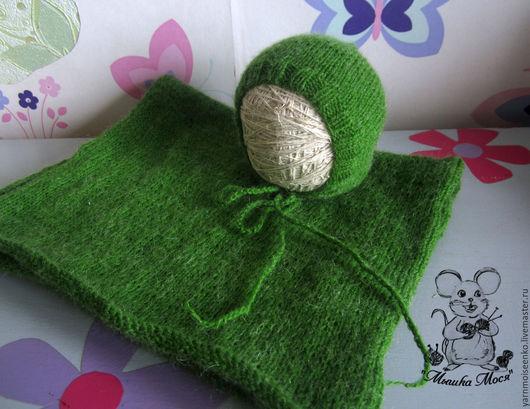 """Для новорожденных, ручной работы. Ярмарка Мастеров - ручная работа. Купить Комлпект для фотосессии """"Магия зеленого"""" - обмотка и шапочка. Handmade."""