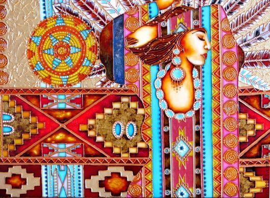 """Люди, ручной работы. Ярмарка Мастеров - ручная работа. Купить """"Песня Шамана"""" Витражное панно. Handmade. Разноцветный, панно на стену"""