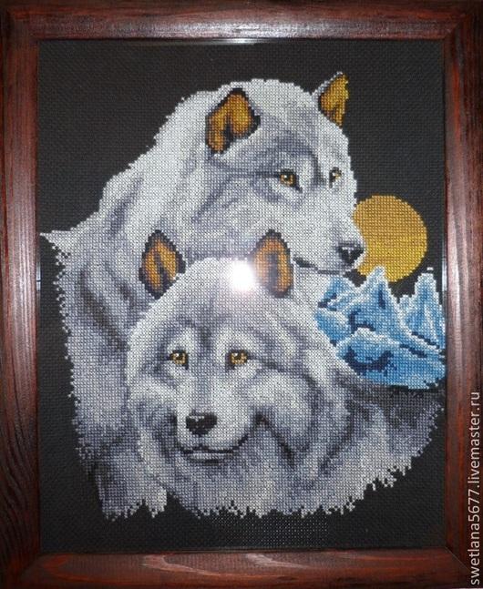 Животные ручной работы. Ярмарка Мастеров - ручная работа. Купить Пара волков. Handmade. Пара волков, Вышитая картина