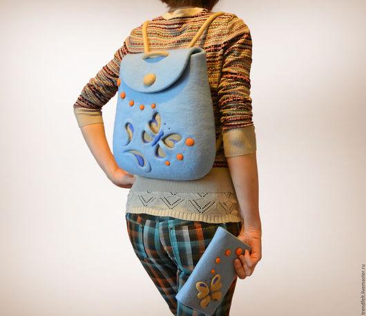 """Рюкзаки ручной работы. Ярмарка Мастеров - ручная работа. Купить Рюкзак валяный """"Мила"""", рюкзак голубой. Handmade. Рюкзак"""