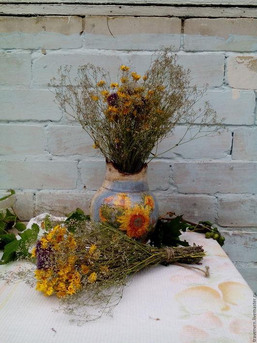 Букеты ручной работы. Ярмарка Мастеров - ручная работа. Купить Букет сухоцветов. Полевые цветы. Пупавка, левзея, качим.. Handmade.