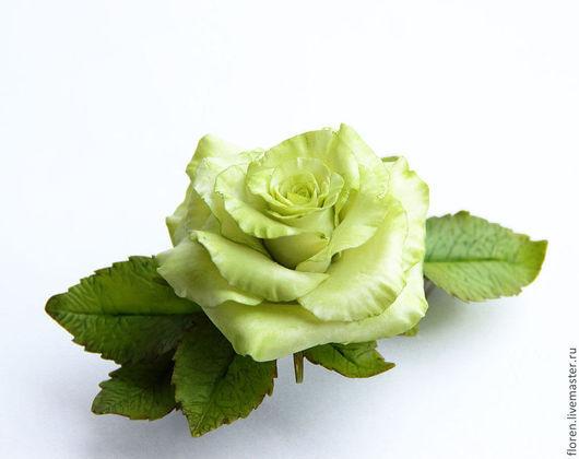 Заколки ручной работы. Ярмарка Мастеров - ручная работа. Купить Заколка с салатовой розой. Handmade. Салатовый, заколка с розой