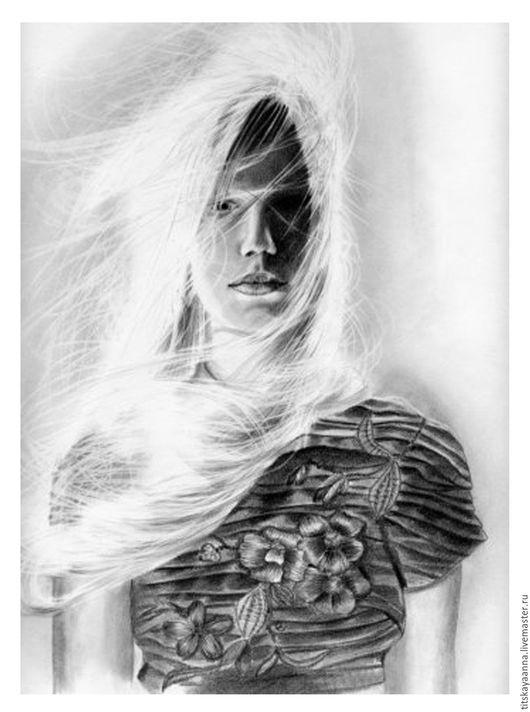 Люди, ручной работы. Ярмарка Мастеров - ручная работа. Купить Портрет девушки с развивающимися волосами. Handmade. Серый, волосы, портрет