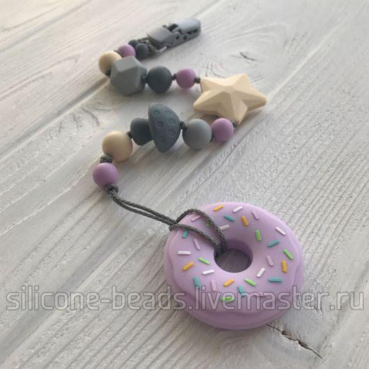 """Развивающие игрушки ручной работы. Ярмарка Мастеров - ручная работа. Купить Силиконовый грызунок """"Пончик"""" на клипсе в пастельной гамме. Handmade."""