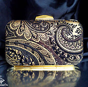 Клатчи ручной работы. Ярмарка Мастеров - ручная работа Клатч кожаный Golden paisley. Handmade.