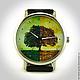 Оригинальные дизайнерские наручные часы ручной работы `Древо жизни`