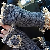 Аксессуары handmade. Livemaster - original item Women`s mitts for spring with lace gray Vintage Gift for March 8. Handmade.